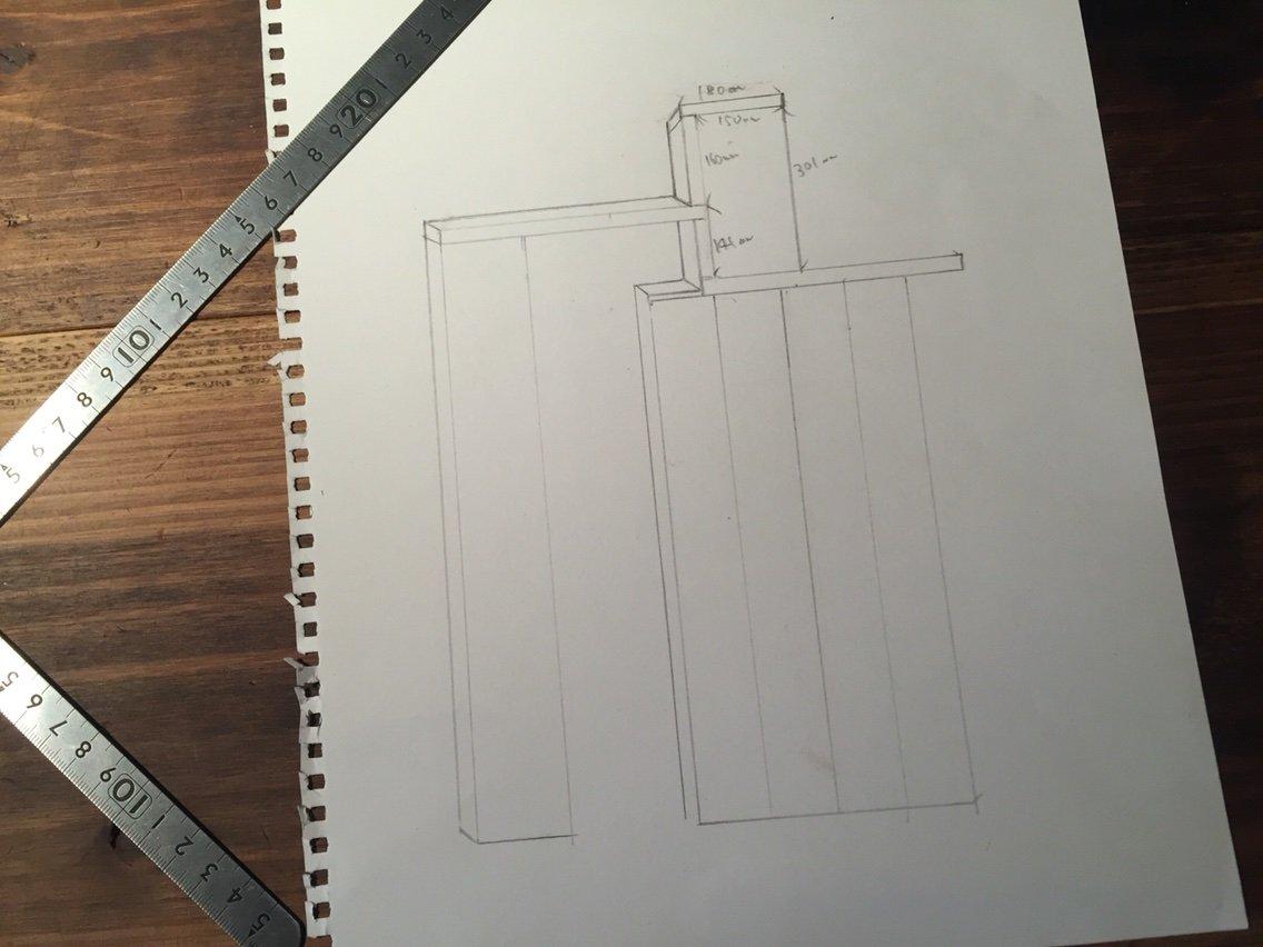 DIYカウンターキッチンの図面