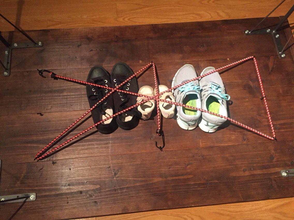 とにかく落ちないように靴を固定
