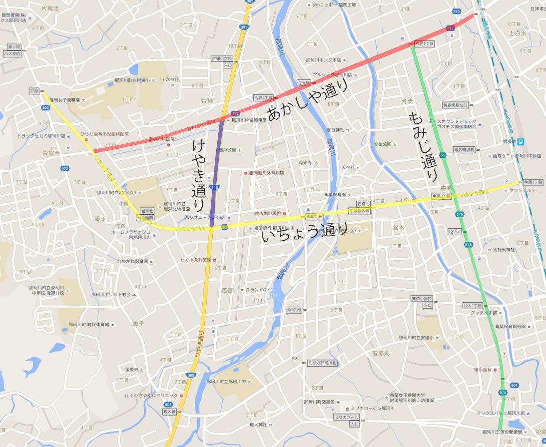 那珂川町の主要な通り