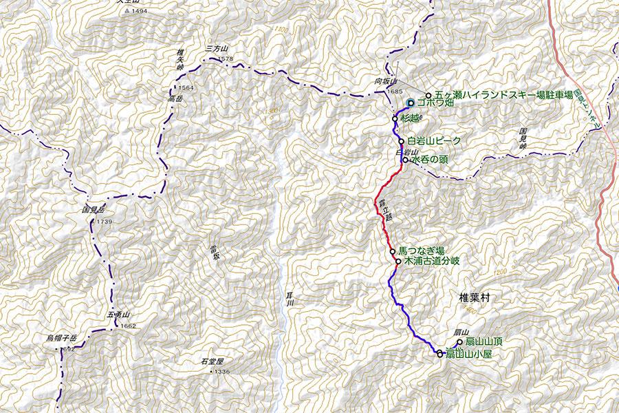 霧立越(ゴボウ畑ー扇山)トラックデータ(20万分の1)