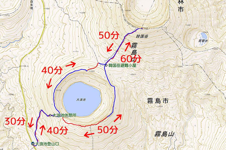 韓国岳(大浪池登山口)コースタイム