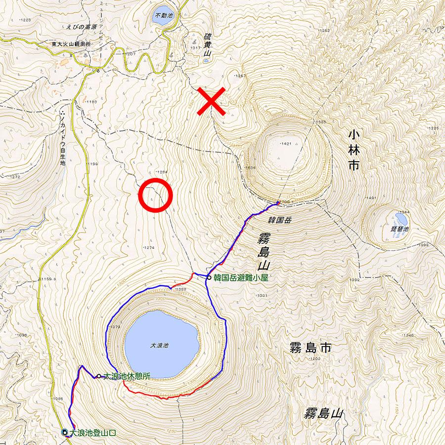 2018年10月付け韓国岳登山ルートマップ