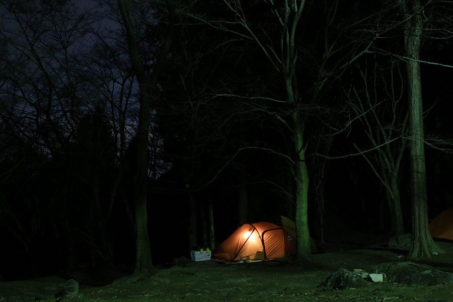 自然の中でキャンプを楽しむ