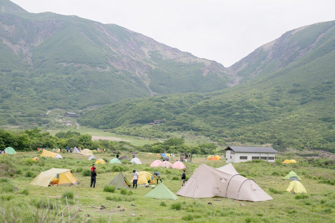 坊ガツルキャンプ場でテント泊