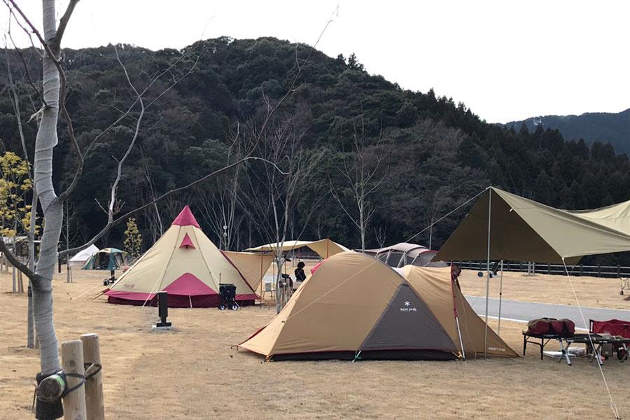 Cサイトに並ぶテント