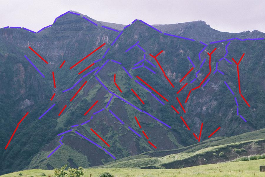 山の地形は尾根と谷