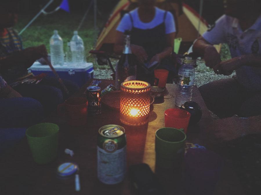 初めてキャンプで宴会