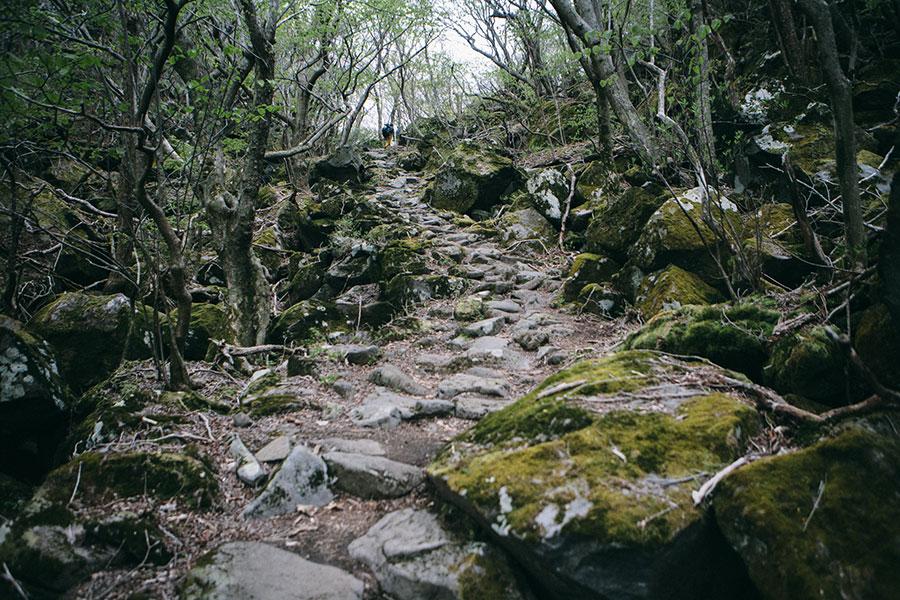 鍋割坂の峠付近の石段