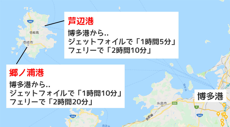 博多港から壱岐島の郷ノ浦港や芦辺港への航路と所要時間