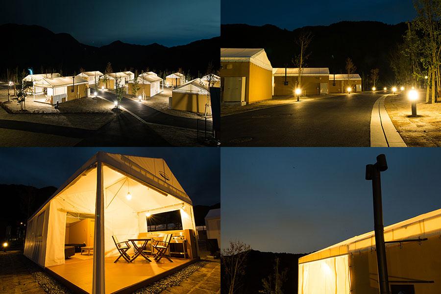 夜のウォールテンテッドキャンプサイト