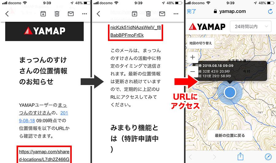 位置情報の通知メール