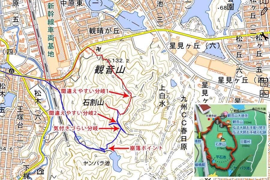 観音山周回ルートマップ